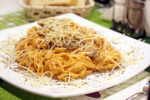 Рецепт Паста с шампиньонами и креветками