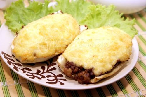 Рецепт Запеченные кабачки с чечевицей, грибами и сыром
