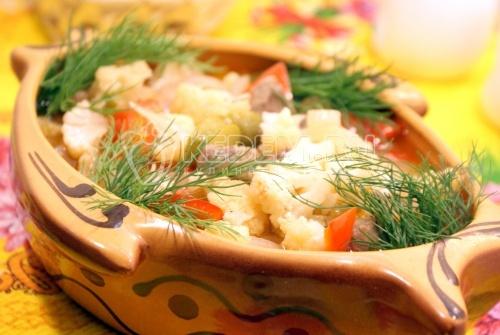 Рецепт Цветная капуста с говядиной в мультиварке