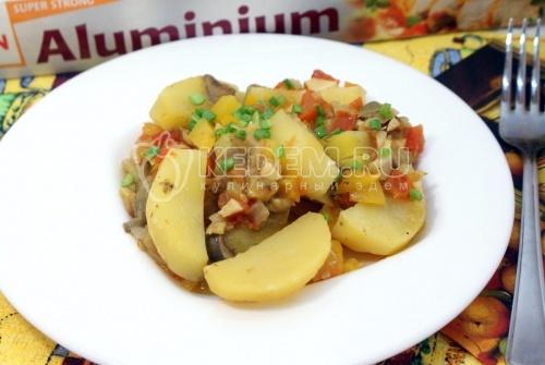 Рецепт Овощи запеченные с грибами в фольге