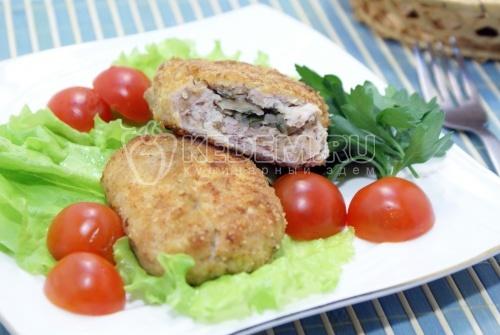 Рецепт Куриные зразы с грибами «Удачные»